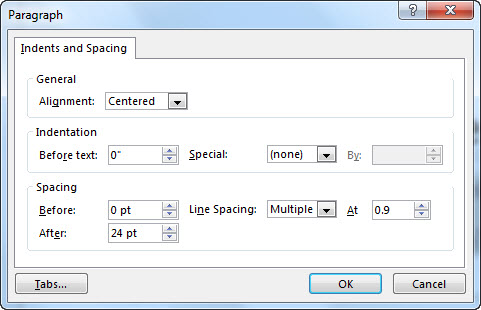 Paragraph dialog box in PowerPoint