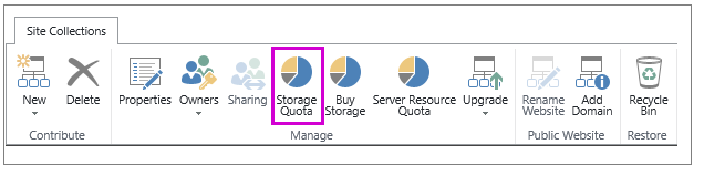 Site Collections tab with Storage Quota button highlighted