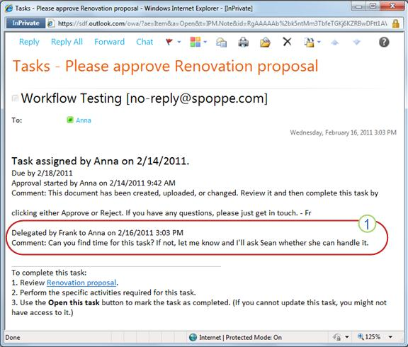 Task notification for reassigned task