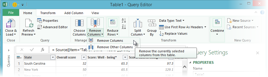 Remove columns using Query Editor
