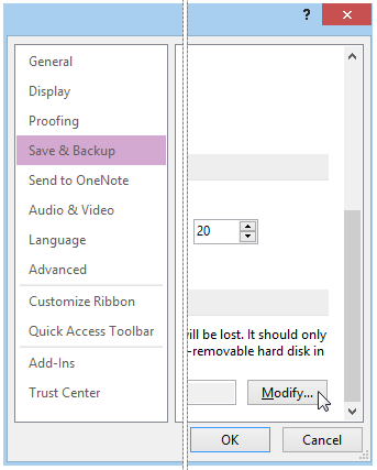 You can modify the backup options in OneNote.