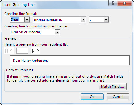 Greeting Line options