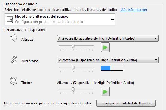Captura de pantalla del cuadro Selección de dispositivo de audio donde puede configurar la calidad de audio