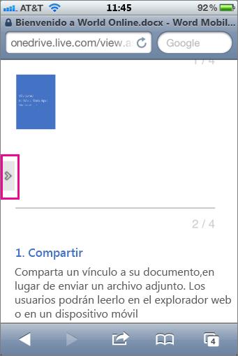 Puntear para abrir la barra de herramientas en Visores de Office Mobile