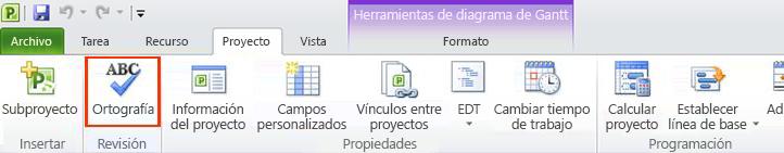 Comando Ortografía de la cinta de opciones de Project