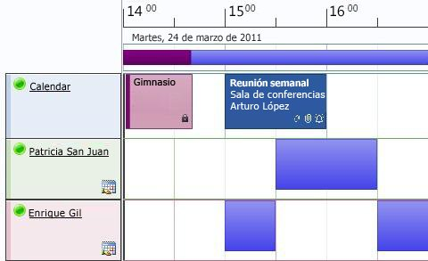 Vista de programación de calendario