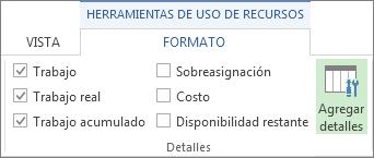 Botón Agregar detalles de la pestaña Formato de herramientas de uso de recursos