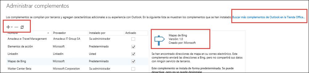 Administrar complementos en Outlook