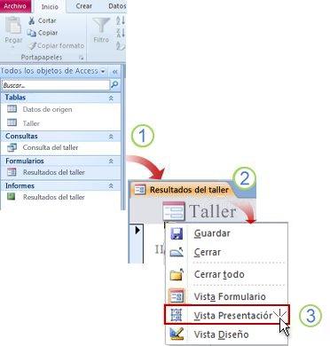 Abrir un formulario o informe en vista Presentación