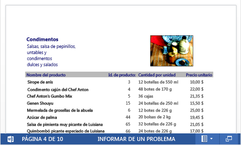 Archivo PDF insertado de un catálogo de productos abierto en Word Online