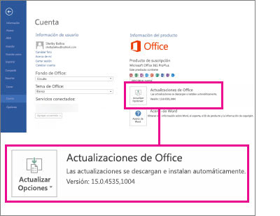 El número de versión se muestra en Actualizaciones de Office