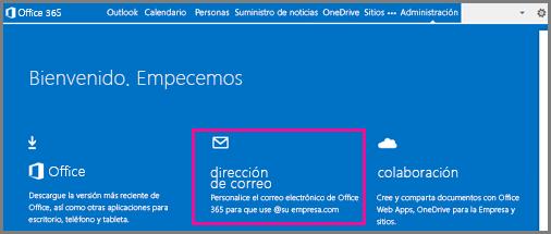 Página de bienvenida, que muestra el mosaico de la dirección de correo electrónico