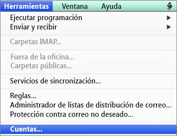 Herramientas de Outlook para Mac > Cuentas