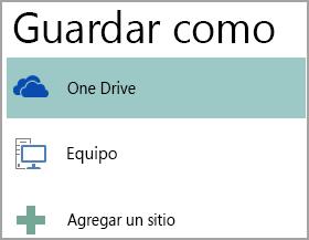 Captura de pantalla de la opción Guardar como en Publisher.
