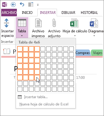 Inserte una tabla en OneNote.