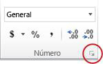 Botón del selector de cuadro de diálogo en el grupo Número