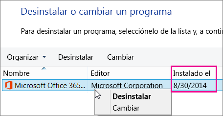 Usar la columna Instalado en para determinar la versión de Office que se va a desinstalar
