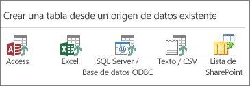 Selecciones de orígenes de datos: Access; Excel; SQL Server/datos de ODBC; texto/CSV; lista de SharePoint.