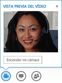 Captura de pantalla de una vista previa de vídeo con la opción Activar mi cámara seleccionada
