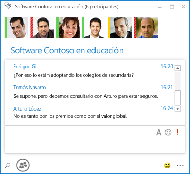 Captura de pantalla de salón persistente con 6 participantes