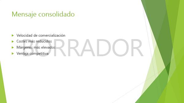 """Ejemplo de una diapositiva de PowerPoint con la marca de agua """"borrador"""""""