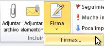 Comando Firmas en la cinta de opciones