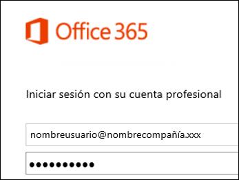 Pantalla de inicio de sesión del portal de Office 365