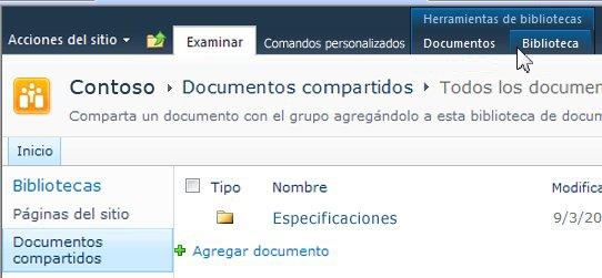 Ficha Biblioteca en Herramientas de bibliotecas