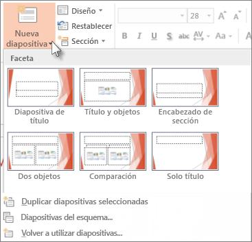 Diseños de nueva diapositiva en PowerPoint.