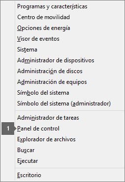 Lista de opciones y comandos después de presionar la tecla del logotipo de Windows + X