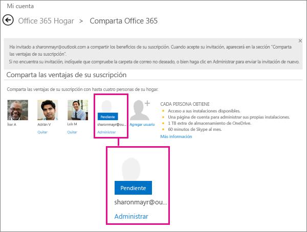Captura de pantalla de la página Compartir Office365 con un usuario pendiente de suscripción compartida seleccionado.