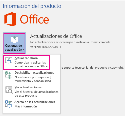 Buscando actualizaciones para Office de forma manual en Word 2016