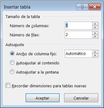 El cuadro de diálogo Insertar tabla le proporciona mayor control sobre la apariencia de la tabla