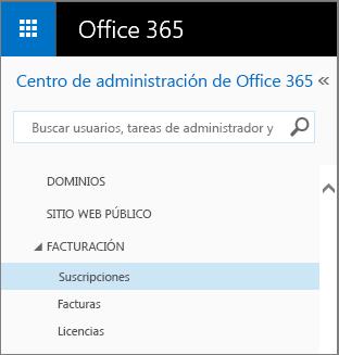 Vínculo a la página Suscripciones en Office 365 Pequeña EmpresaPremium.