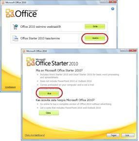 Office Starteri esmakordne kasutamine