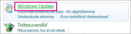 Juhtpaneel link Windows Update