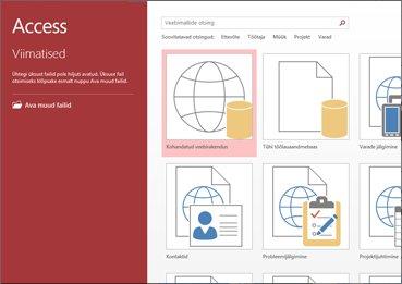 Accessi tervituskuva, kus on näha malliotsinguväli ning kohandatud veebirakenduse ja tühja töölauaandmebaasi nupud
