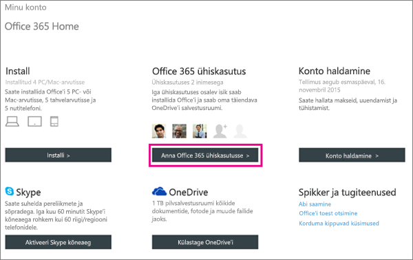 Kuvatõmmis isikliku konto lehest, kus on valitud Office 365 jagamise nupp.