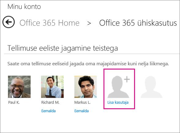 Kuvatõmmis Office 365 ühiskasutuse lehest, kus on valitud suvand Lisa kasutaja.