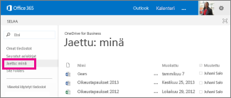 OneDrive for Businessin Jaettu kanssani -linkki