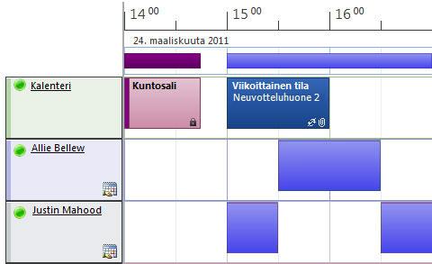 Kalenterin aikataulunäkymä