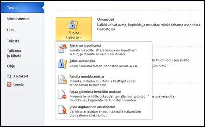 Suojaa tiedosto -painike ja asetukset