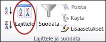 Excelin Tiedot-välilehden Lajittele ja suodata -ryhmän Lajittele-komento