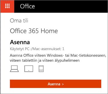 Office-kaupan Oma tili -sivu, jolla näkyy Asenna-painike