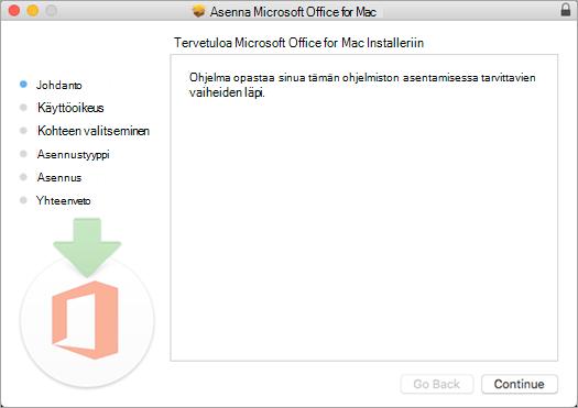 Ensimmäinen Mac 2016 -asennusnäyttö, jossa näkyy korostettuna Jatka