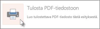 Diojen tulostaminen PDF-tiedostoina