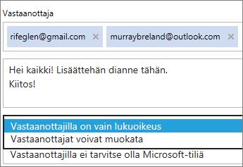 Vain tarkastelu -vaihtoehdon ja kirjautumisasetusten valinta sähköpostikutsussa