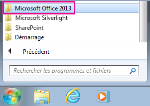 Office 2013 group under All Programs in Windows 7