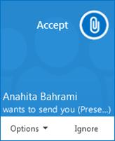 Capture d'écran d'une alerte contextuelle pour un transfert de fichier