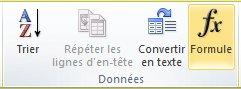 Groupe Données de l'onglet Outils de tableau Disposition dans le ruban Word2010